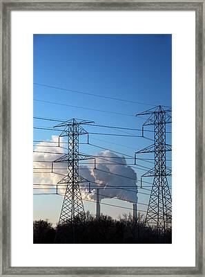 Pylons And Coal-fired Power Station Framed Print by Jim West