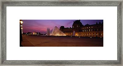 Pyramid Lit Up At Night, Louvre Framed Print by Panoramic Images