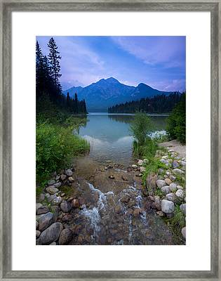 Pyramid Mountain And Lake. Framed Print by Cale Best