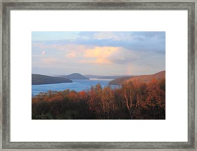 Quabbin Reservoir Enfield Lookout Late Foliage Rainbow Framed Print by John Burk