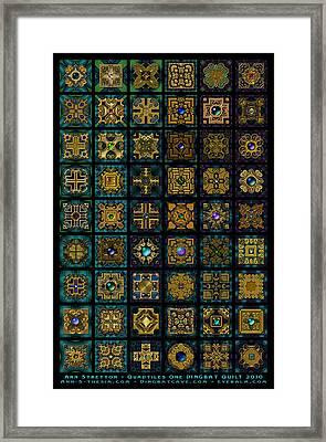 Quadtiles One Dingbat Quilt Framed Print by Ann Stretton