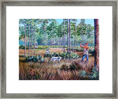 Quail Hunting...a Southern Tradition. Framed Print by Daniel Butler