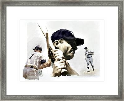 Quality Of Greatness Mickey Mantle Framed Print by Iconic Images Art Gallery David Pucciarelli