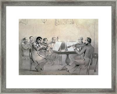 Quartet Of The Composer Count A. F. Lvov, 1840 Pencil On Paper Framed Print by R. Rorbach