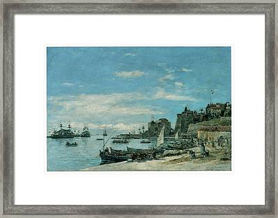 Quay At Villefranche Framed Print by Eugene Boudin