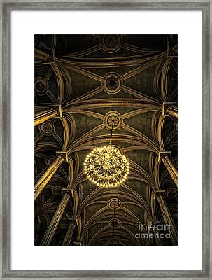 Quebec City Canada Ornate Grand Hall Or Church Ceiling Framed Print by Edward Fielding