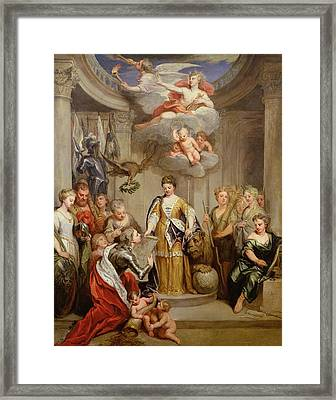 Queen Anne Presenting Plans Of Blenheim To Military Merit Oil On Canvas Framed Print by Sir Godfrey Kneller
