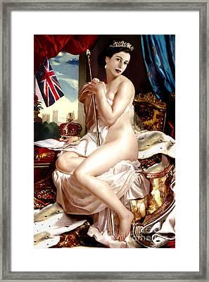 Queen Elizabeth II Nude Portrait Framed Print by Karine Percheron-Daniels