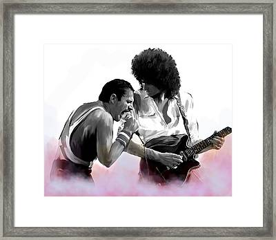 Queen II  Freddie Mercury And Brian May Framed Print by Iconic Images Art Gallery David Pucciarelli