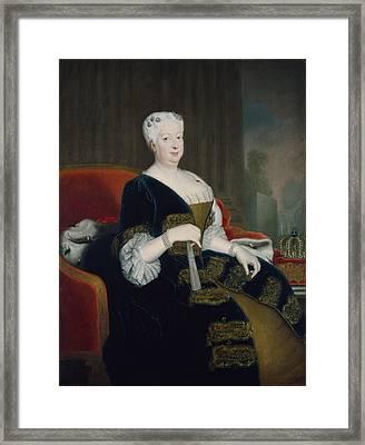Queen Sophia Dorothea Of Hanover Oil On Canvas Framed Print by Georg Wenceslaus von Knobelsdorff
