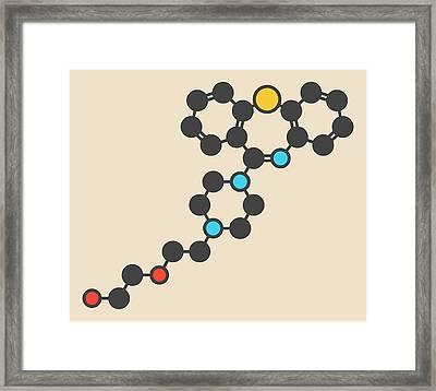Quetiapine Antipsychotic Drug Molecule Framed Print by Molekuul