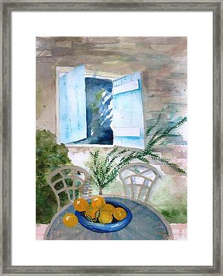 Quiet Morning On The Patio Framed Print by Sandi Stonebraker