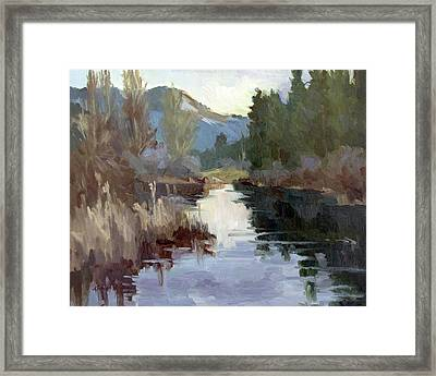 Quiet Reflections At Harry's Pond Framed Print by Diane McClary