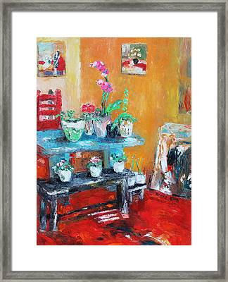 Quiet Time Corner Framed Print by Becky Kim
