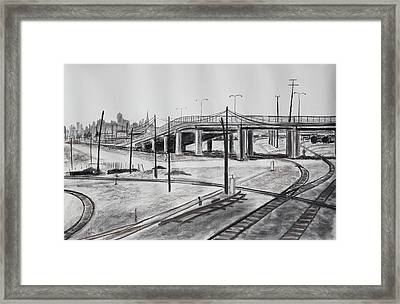 Quiet West Oakland Train Tracks With Overpass And San Francisco  Framed Print by Asha Carolyn Young