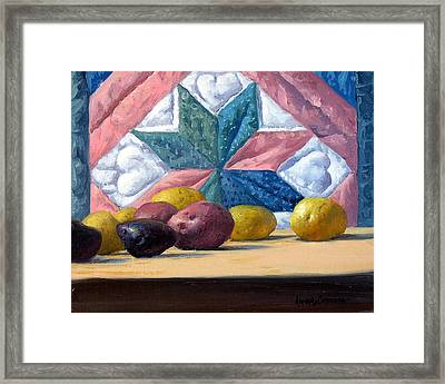 Quilt And Potatoes Framed Print by Armand Cabrera