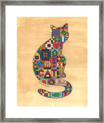 Quilted Cat Framed Print by Carol Neal