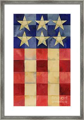 Quilted Flag Vertical Framed Print by Paul Brent