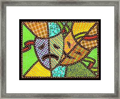Quilted Theatre Masks Framed Print by Jim Harris