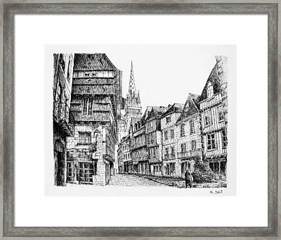 Quimper - Black Ink Framed Print by Nicolas Jolly