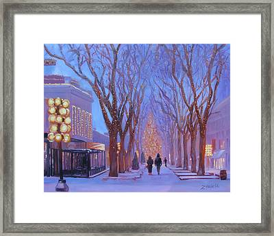 Quincy Market At Twilight Framed Print by Laura Lee Zanghetti