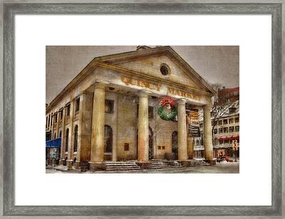 Quincy Market Snow 2 Framed Print by Joann Vitali