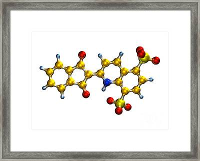 Quinoline Yellow Food Coloring Molecule Framed Print by Dr. Mark J. Winter