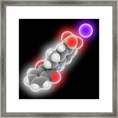 Quinoline Yellow Molecule Framed Print by Laguna Design