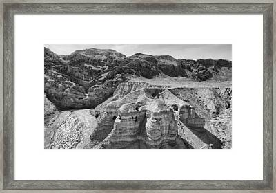 Qumran Caves Bw Framed Print by Stephen Stookey
