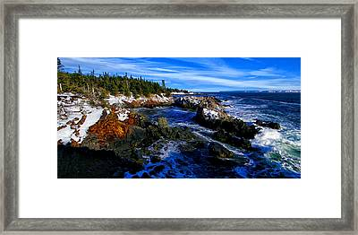 Quoddy Coast With Snow Framed Print by Bill Caldwell -        ABeautifulSky Photography