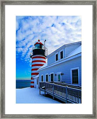 Quoddy Head Lighthouse In Winter 2 Framed Print by Bill Caldwell -        ABeautifulSky Photography