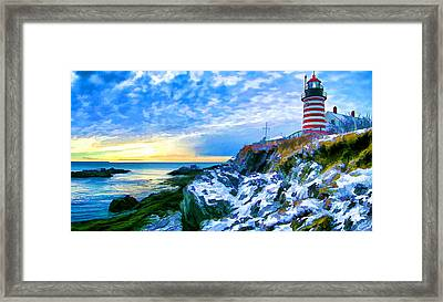 Quoddy Head Lighthouse In Winter 3 Framed Print by ABeautifulSky Photography