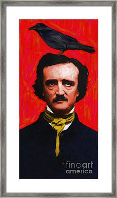 Quoth The Raven Nevermore - Edgar Allan Poe - Painterly Framed Print by Wingsdomain Art and Photography