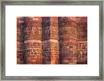 Qutab Minar Detail Framed Print by Inge Johnsson