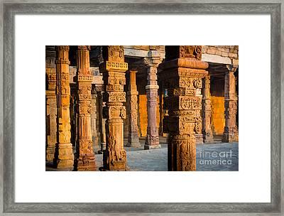 Qutab Minar Hall Framed Print by Inge Johnsson