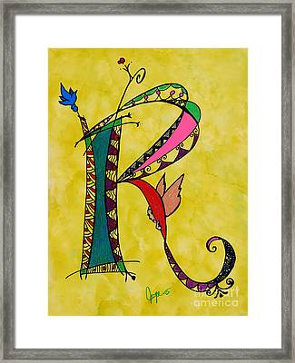 'r' Monogram Framed Print by Joyce Auteri