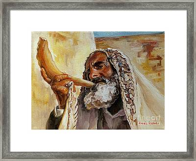 Rabbi Blowing Shofar Framed Print by Carole Spandau