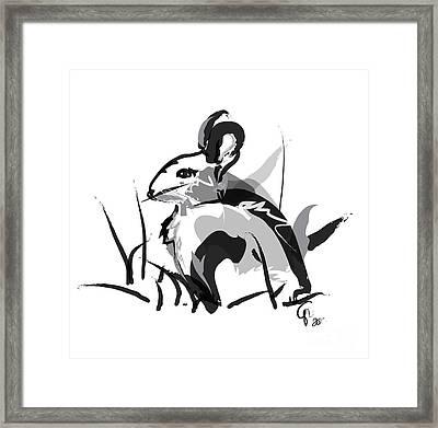 Rabbit Bunny Black White Grey Framed Print by Go Van Kampen