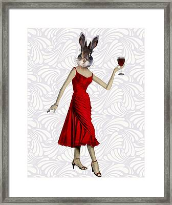 Rabbit In A Red Dress Framed Print by Kelly McLaughlan
