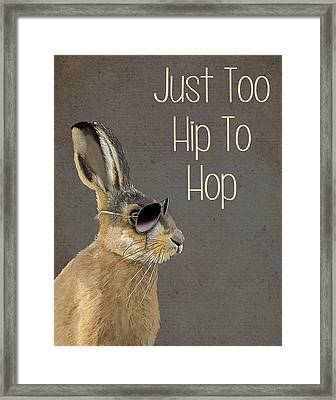 Rabbit Too Hip To Hop Grey Framed Print by Kelly McLaughlan