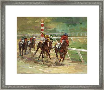 Race Horses Framed Print by Laurie Hein
