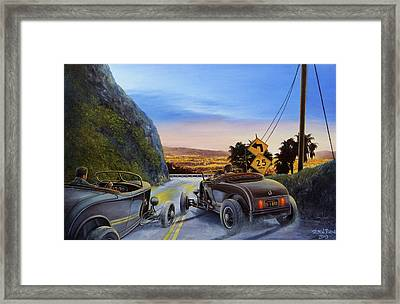 Race To Dead Man's Curve Framed Print by Ruben Duran