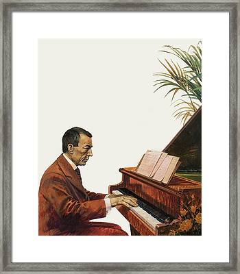 Rachmaninoff Playing The Piano Framed Print by Andrew Howat