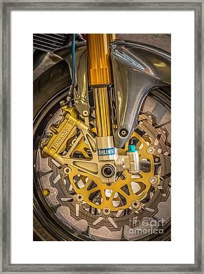 Racing Bike Wheel With Brembo Brakes And Ohlins Shock Absorbers Framed Print by Ian Monk