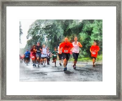 Racing In The Rain Framed Print by Susan Savad