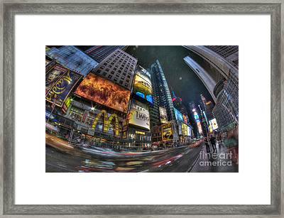 Racing Through Times Square Framed Print by Mark Ayzenberg