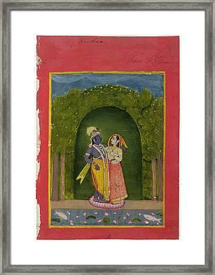 Radha And Krishna Framed Print by British Library