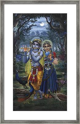 Radha And Krishna On Full Moon Framed Print by Vrindavan Das