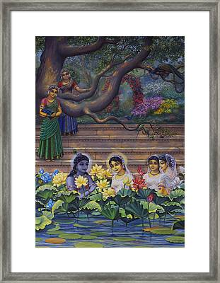 Radha And Krishna Water Pastime Framed Print by Vrindavan Das