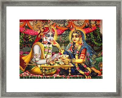 Radha Krishna Bhojan Lila On Yamuna Framed Print by Vrindavan Das